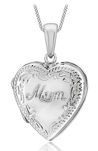 "Tuscany Silver Sterling Silver Heart Engraved Edge ""Mum"" Locket Pendant on Curb Chain of 46cm/18"""