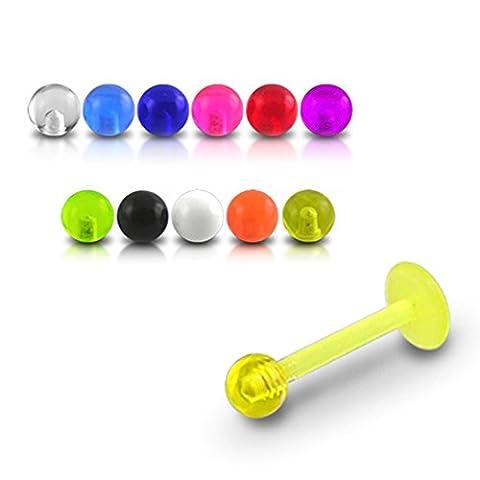 Bijou Piercing Labret pour lèvres 16Gx5/16 (1.2x8MM) CBioflex avec Boule UV Lot de 10 pièces couleurs assorties