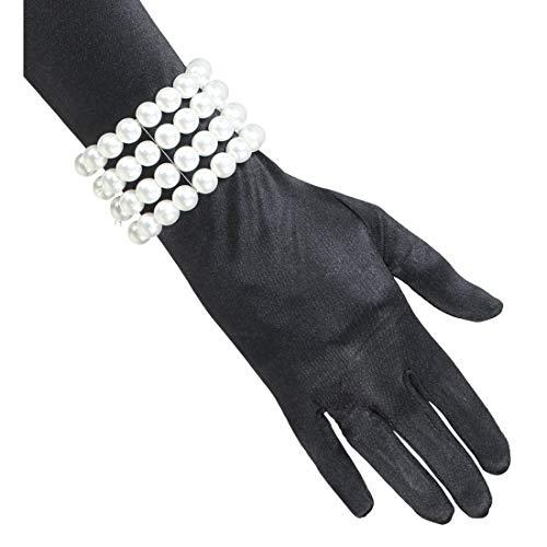 NET TOYS Edles 20er & 30er Jahre Perlenarmband | Weiß | Elegantes Damen-Kostüm-Zubehör Modeschmuck Femme Fatale Accessoire | Wie geschaffen für Fasching & Karneval