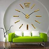FJLOVE Moderne 3D Rahmenlose Große Wanduhr Acryl DIY Spiegel Mode Wohnzimmer Europäischen Einfache Persönlichkeit Kreative Wanduhr,Gold