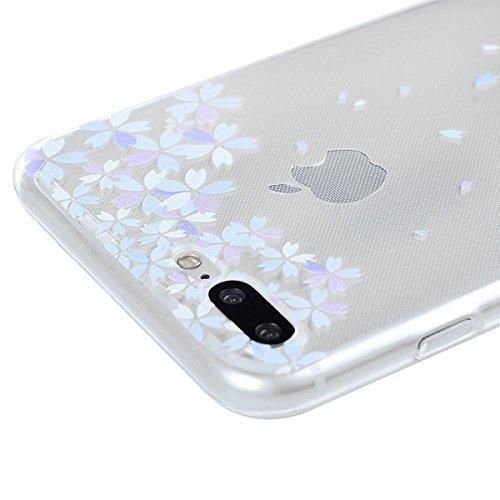 HB-Int 3 in 1 Custodia per Apple iPhone 7 (4.7 pollici) Trasparente Case Bella Pattern Chiaro Shell Custodia Flessibile TPU Gel Caso Ultra Sottile Leggera Copertura Anti Graffi Silicone Soft Cover + P Farfalla Fiori