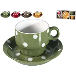 Home - Tazas de té con plato, diseño de lunares, paquete de 4unidades, porcelana, multicolor, 37x 16x 9cm