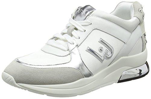 LIU JO Sneakers B18021T2039 10602 running miranda con logo zeppa 50 colore  bianco in camoscio 0988a5fb5c5