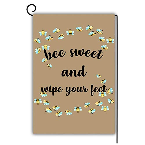 Sweet Feet-muster (Novelcustom Bee Sweet and Wipe Your Feet Garden Flag Decorative House Yard Flag Double Sided Flags Outdoors Lawn Weatherproof Polyester Fabric 30x45.7cm/12.5 x 18 inches)