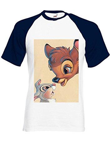 Bambi And Rabbit Cute Navy/White Men Women Unisex Shirt Sleeve Baseball T Shirt-S par  NisabellaLTD