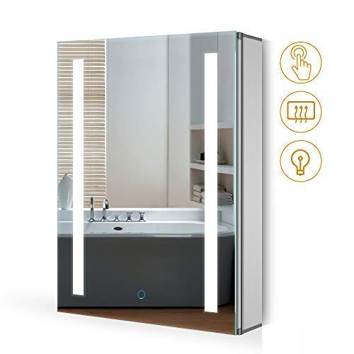 *Quavikey LED beleuchteter Spiegelschrank mit Rechteckiges Licht Demister Pad Aluminium Badezimmerspiegelschrank 500 x 700MM für Schmicke Ablagerung Bad Toilette*