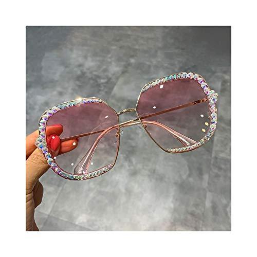 Sonnenbrille Frauen Luxus Strass Quadrat Sonnenbrille Klare Linse Übergroße Männer Sonnenbrille Vintage Shades (Lenses Color : Pink)