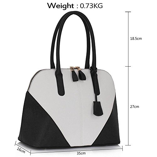 TrendStar Frauen Spitzen Griff Mode Greifer Damen Stilvolle Kunstleder Handtaschen Schwarz/Weiß
