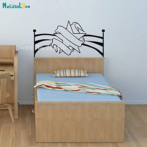 zhuziji Bedside Wandtattoos Stern Und Band Kopfteil Vinilos Paredes Dekoration Für Schlafzimmer Selbstklebende Vinyl Wandbild lila 110x56 cm (Blau Wii-jacke)
