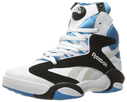 Reebok Men's Shaq Attaq Fashion Sneaker, White/Black/Azzure Steel, 10.5 M US
