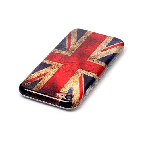 XiaoXiMi iPhone 7 Hülle Weiche Flexible Zurück Schutzhülle mit Bunte Muster für iPhone 7 TPU Silikon Etui Soft Slim Gel Rubber Case Cover Ultra Dünne Schlanke Schale Glatte Leichte Tasche Anti-stoß An Union Jack