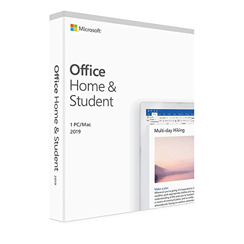 Microsoft Home and Student 2019, One-Time Purchase - Lifetime Validity, 1 Person, 1 PC or Mac (Activation Key Card)