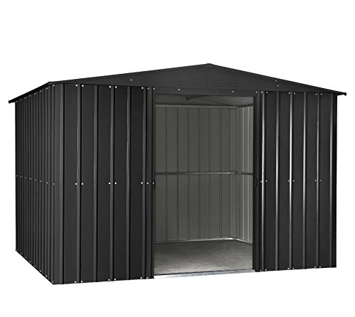 Globel Industries Metall Garten Gerätehaus Gartenhaus 10x8 anthrazit inkl. Fenster und Sonneneinlass // 295x237x203 cm (BxTxH) // 7m² // Gerätehaus Metall Satteldach