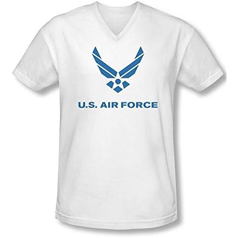 Air Force - - Apenó el logotipo V-cuello de la camiseta de los hombres de
