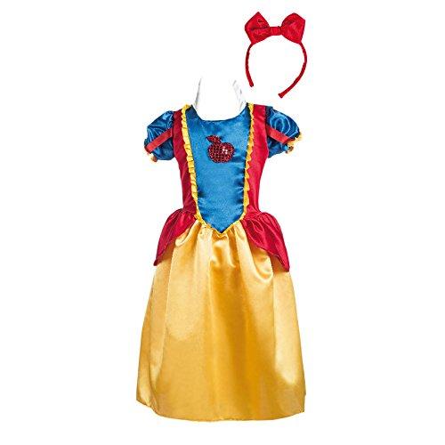 Schneewittchen Kostüm Kinder 2tlg Märchen Kostüm Kleid und Haarreif gelb blau rot - 5/7 Jahre (Roter Apfel Kind Kostüme)