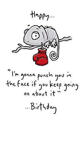 Leon der Chameleon Geburtstagskarte–mit Boxhandschuh