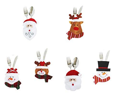 Miya® super süß 6er Weihnacht Party Bestecktasche Geschirrhalter, Tischdeko, Bestecktasche Besteckbeutel für Weihnachten, DIY Deko