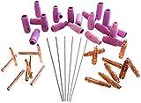 KATTEX - WIG Zubehör-Set 44-tlg mit Wolfram-Elektroden gold 1,6mm, 2,0mm & 2,4mm; WIG-Verschleißteile für Schlauchpaket inkl. Gasdüsen, Spannhülsen, Spannhülsengehäuse für WIG; Wolfram Aluminium