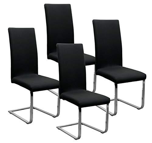 BEAUTEX Jersey Stuhlhussen Sets, elastische Stretch Husse Baumwolle Bi-Elastic, Farbe wählbar (Schwarz 4er Set)
