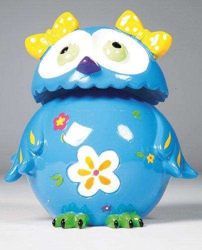 Kare Spardose Eule Little Owl in verschiedenen Farben zur Auswahl, mit Wackelkopf, Maße: 15 x 11 x 8 cm, Material: Polyresin, Sparschwein - Ersatz für Kinder, ideal für Geld-Geschenk, Farbe:blau
