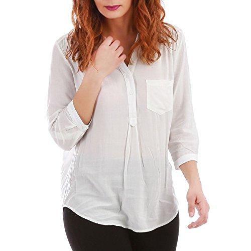 La Modeuse - Blouse femme asymétrique avec col en V à boutons Blanc