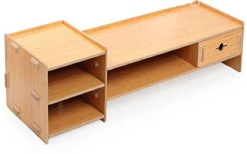 High Riser 3 (Desktop Monitor Ständer, Holz Monitor Riser TV Ständer, mit Slots für Bürobedarf und Stauraum für Tastatur und Maus, Breitbild Stand Riser für Computer Monitor / Laptop)