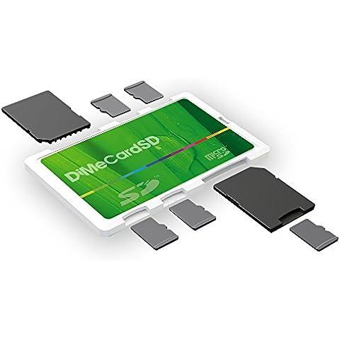 dimecard-sd: Blanco titular de la tarjeta de memoria SD + MicroSD/Eco (Capacidad para 8tarjetas, tamaño tarjeta de crédito etiqueta)