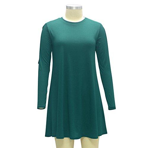 La Cabina Femme Robe Confortable Dérèglement avec Collet Rond ,Coton à Manches Longues pour Automne Hiver (36-42) VERT 01