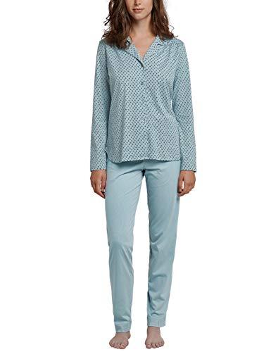 Schiesser Damen Pyjama lang Zweiteiliger Schlafanzug, Grün (Jade 713), 38 (Herstellergröße: 038) -