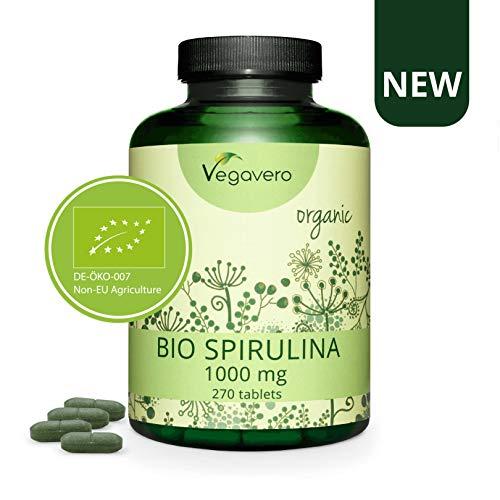 Spiruline BIO Vegavero ® | 1000 mg par Comprimé : Dose la plus Elevée | 270 Comprimés | Sans Additifs | Poudre Séchée et Compressée à Froid | Testée en Laboratoire | Anti-Fatigue | Vegan