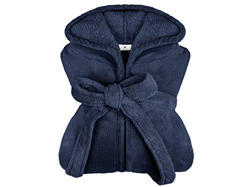 extra weicher Kapuzen-Bademantel aus Kuschelfleece - erhältlich in 10 modernen Farben und 5 Größen - unisex & wadenlang, M, marine