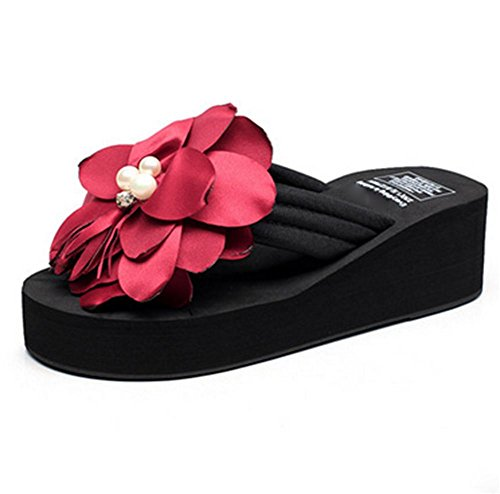 pengweiDamen Sommer Sandalen Verdickung Sohlen Clip F¨¹?e cool Pantoffeln Blumen Strand Schuhe Flip-Flops 4