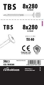 Tellerkopfschrauben 8,0x280mm TX40 weiß verzinkt Cr³+ TBS 50 Stück/Paket + Bit Kopf 19mm Bohrspitze Fräsrippe Wax