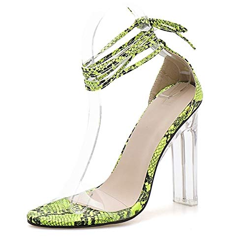 ZerenQ Sandaletten for Frauen Ankle Lace up Riemchen Wrap Kalb Snake Print 11cm Chunky Clear Heel Single Band Kunstleder Open Toe (Color : Grün, Size : 39 EU) Snake Ankle Wrap