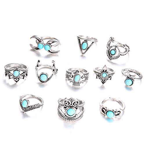 ürkis Boho Silber Ringe Set Eule Mond Mode Party Weihnachten Schmuck Geschenk für Damen Mädchen 11 Stück ()
