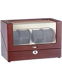 Lindberg & Sons Bobinadora para 4 relojes automáticos Madera café Terciopelo color crema Luces LED - UB8117