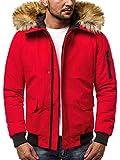 OZONEE Herren Winterjacke Parka Jacke Kapuzenjacke Wärmejacke Wintermantel Coat Wärmemantel Warm Modern Täglichen 777/098K ROT 2XL