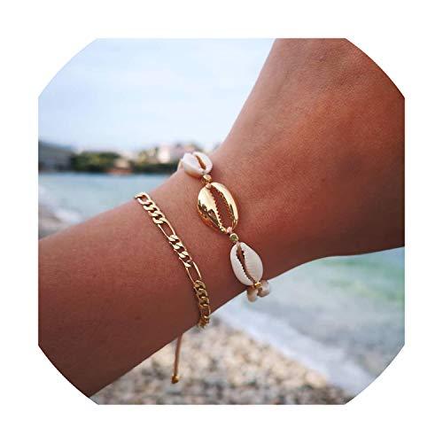 azalea store 3 Woven Freundschaftsbänder Shell Armband String für Frauen Boho handgemachtes gesponnenes Seil-Geschenk, b7734