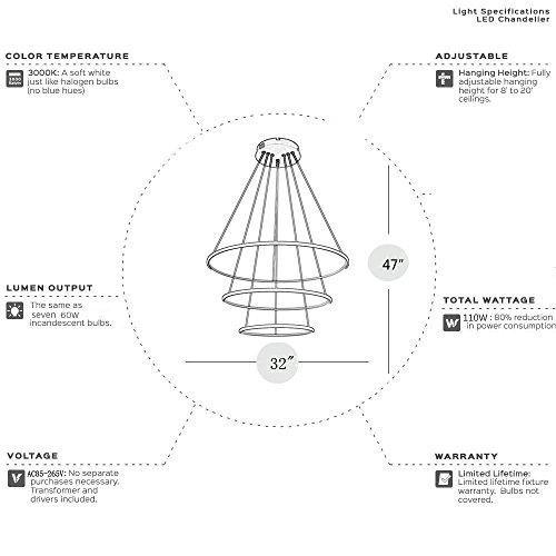Saint Mossi® Exklusiv Entwurf Modern Kronleuchter Lüster Hängelampe Pendelleuchten LED Deckenleuchte Drei Stufe Leuchter Aussehen Einstellbar LED Lichtquelle Integriert - 8