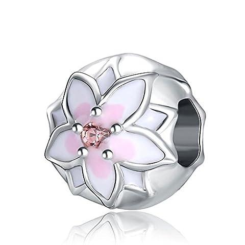 Waya Perles Fleur Blanc émail rose Amour Bracelet Charms pour bracelet Pendentif Collier Argent Serpent Bijoux