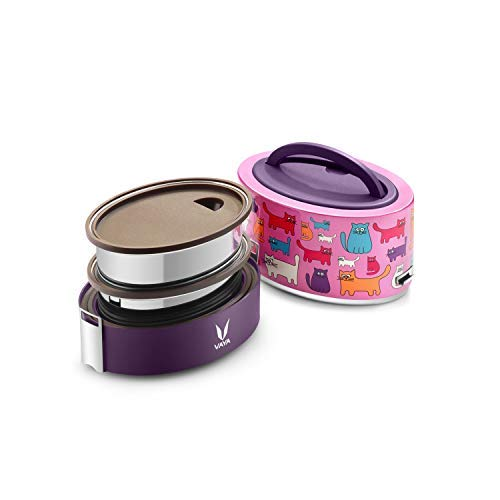 Vaya Tyffyn Copper-Finished Stainless Steel Lunch Box without Bagmat, 600 ml, 2 Containers, Cats