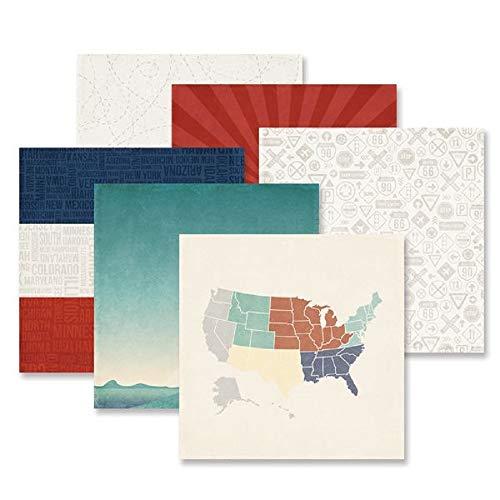 Creative Memories Scenic Route Papier, 12 x 12 cm, doppelseitig, bedrucktes Papier, 12 Stück -