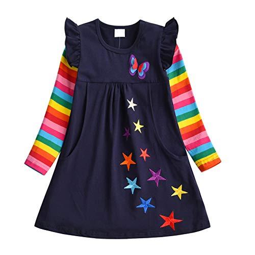 DXTON Mädchen Kleider Sommer Kleid 100% Baumwolle Kurzarm Süße Kinder Kleidung BlauLH5808 3T (Kleidung 3t)