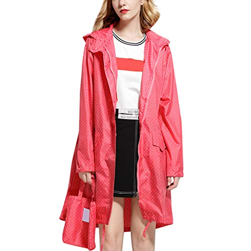 IZHH Mode Damen Regenjacke, Kapuze Einfarbig Eva Mantel Feste Taschen Winddicht Freien Outwear Wasserdichte Splice Windjacke Regenbekleidung(Rosa,X-Large)