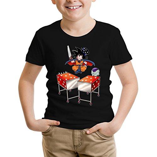 Okiwoki T-Shirt Enfant Noir Dragon Ball Z - DBZ parodique Songoku et Freezer : Tour de Magie. : (Parodie Dragon Ball Z - DBZ)