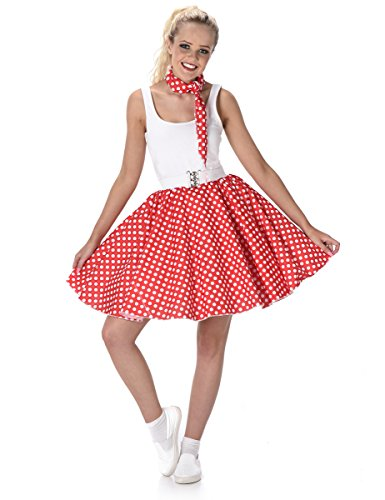 Outfits Jahre 1950er Roll And Rock (Red Polka Dot Skirt Ladies Fancy Dress Rock Roll 50s Womens Adult 1950s)