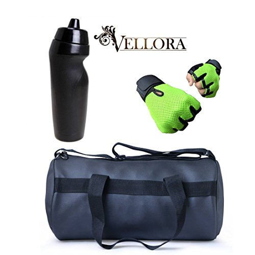 VELLORA Soft Leather Duffel Gym Bag (Black) With Penguin Sport Sipper, Gym Sipper Water Bottle And Green Color...