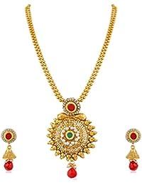Apara Pendant Ball Chain Multicolored Pearl Jewellery Set For Women / Girls