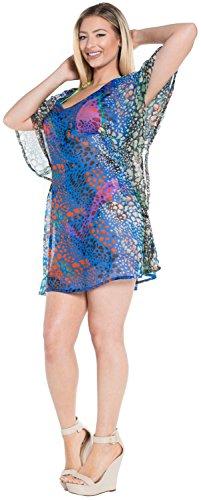La Leela superleichte schiere Chiffon 5 Unzen Tanzen Paisley-V-Ausschnitt Badeanzug hawaiische 4 in 1 Strand-Bikini-Vertuschung Tunika Lounge Grundkleidbadebekleidung Resort tragen Frauen Kaftan Gelb