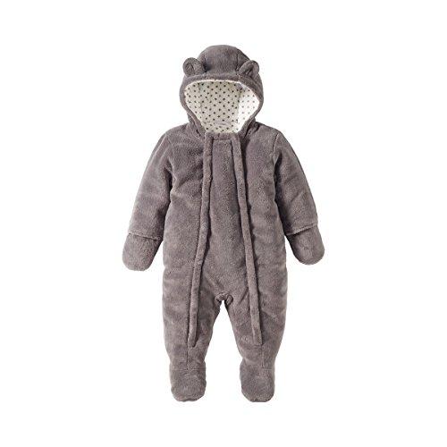 Bornino Basics Plüschoverall - kuscheliger Baby-Overall in Bären-Optik mit Kinnschutz & Kapuzen mit Ohren - Outdoor-Strampler aus Plüsch